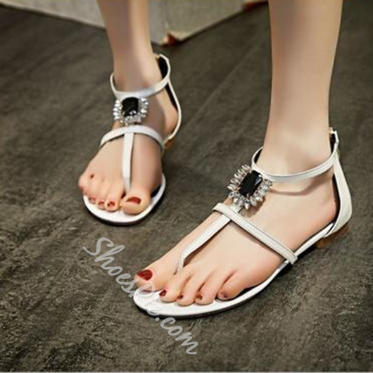 Shoespie Jeweled T Strap Flat Sandals