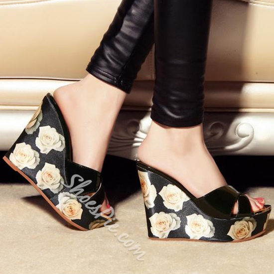 Shoespie Vintage Camellia Flower Print Wedge Slipper Sandals