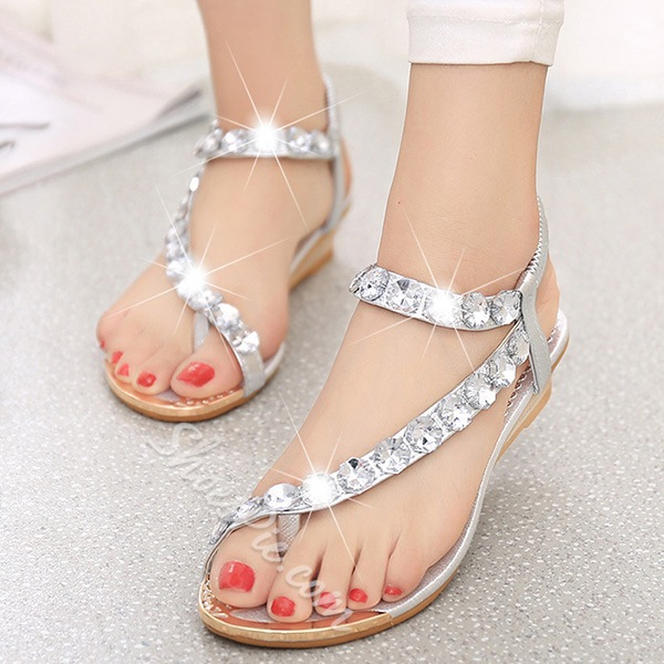 Shoespie Rhinestone Casual Flat Sandals