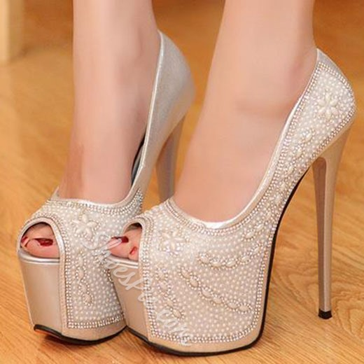 Shoespie Beaded Platform Peep Toe Heels