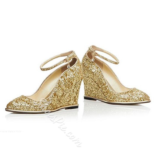 Shoespie Chic Sparkle Ankle Wrap Wedge Heels