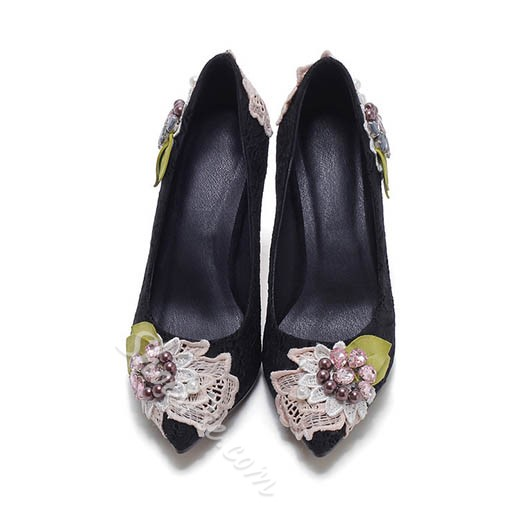 Shoespie Spring Delicate Flower Embellished Stiletto Heels
