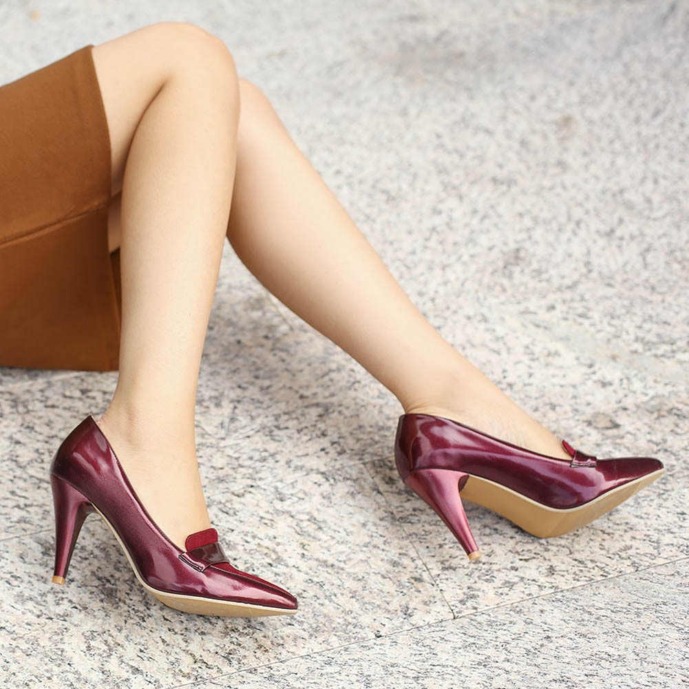 Shoespie Burgundy Preppy Taper Heels