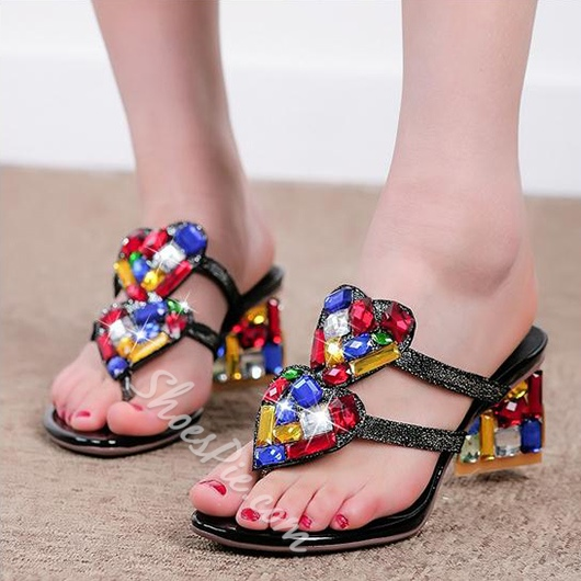 Shoespie Luxurious Colorful Rhinestone Heart Shape Chunky Heel Sandals