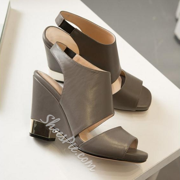 Shoespie Designer Metal Heel Wedge Sandals