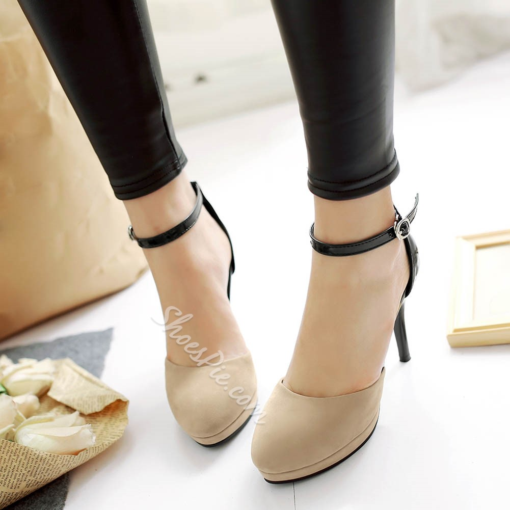 Shoespie Concise Ankle Wrap Platform Heels