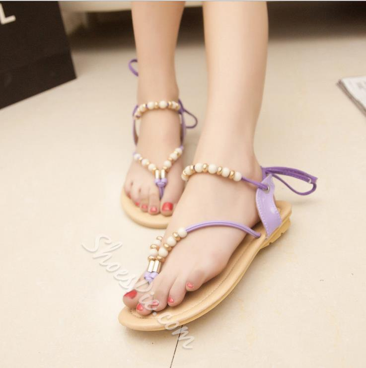 Shoespie Beading Flat Sandals