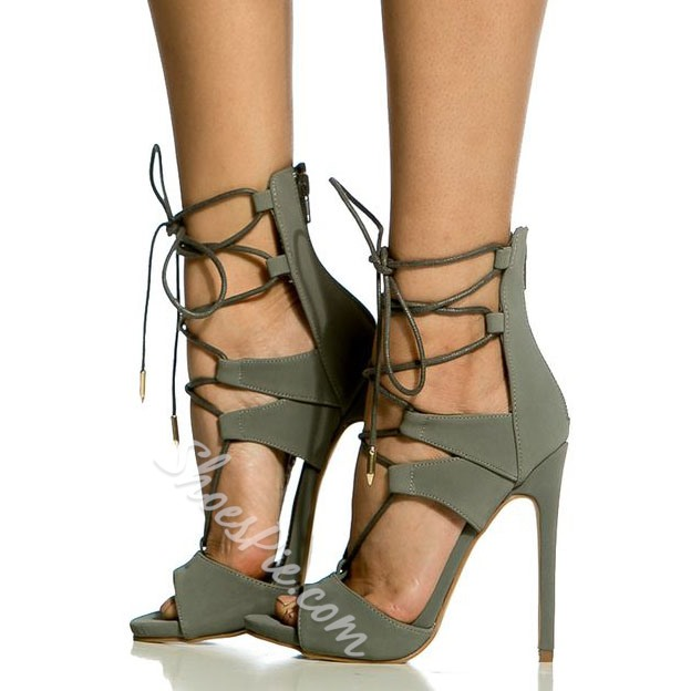 Shoespie Gray Peep Toe Lace Up Stiletto Heels