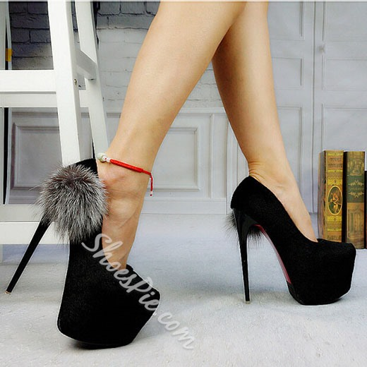 Shoespie Black Pompom Accented Platform High Heels