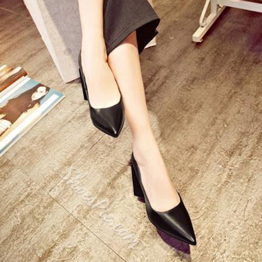 Shoespie Elegant Pointed Toe Chunky Heel Pumps