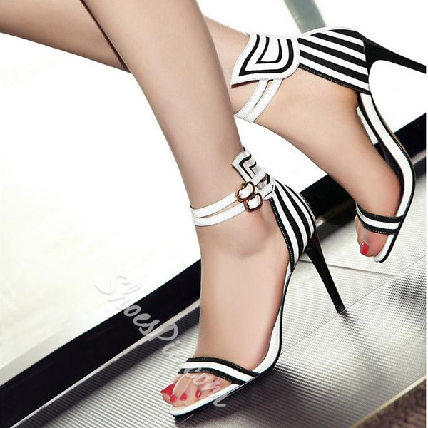 Shoespie Black and White Stripes Dress Sandals