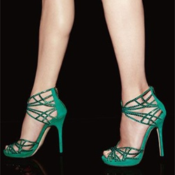 Shoespie Green Suede Cutout Cage Platform Dress Sandals
