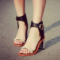 Shoespie Concise Ankle Wrap Square Heel Gladiator Sandals