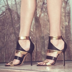Shoespie Black and Golden Back Zipped Dress Sandals