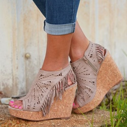 Shoespie Cutout and Tassels Peep Toe Wedge Sandals