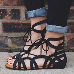 Shoespie Black Lace Up Cutout Flat Sandals