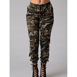 Washable Camouflage Pencil Pants Mid-Waist Women's Jeans