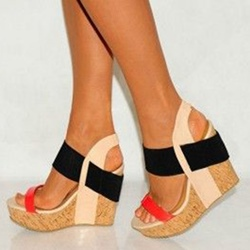 Sheospie Color Block Wooden Heel Wedge Sandals