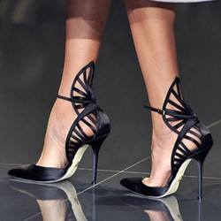 Shoespie Chic Black Cut Out Stiletto Heels
