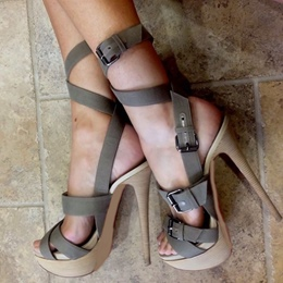 Shoespie Dark Gray Platform Gladiator Sandals