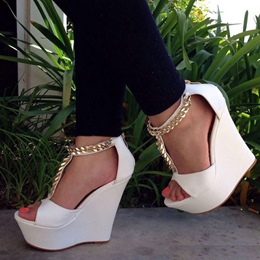 Shoespie White T Chains Wedge Sandals