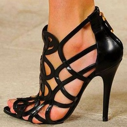 Shoespie Black Geometric Caged Back Zipped Sandals