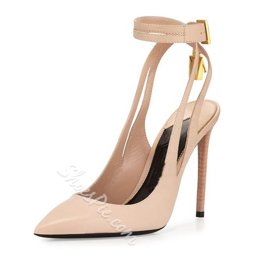 Shoespie Chic Nude Slingback Ankle Wrap Lock Stiletto Heels Shoespie