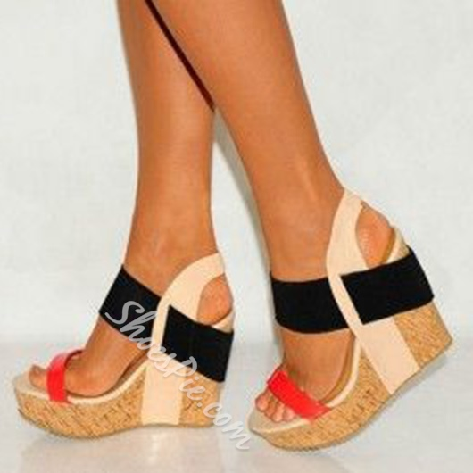 Shoespie Color Block Wooden Heel Wedge Sandals Shoespie