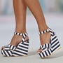 Shoespie Canvas Blue And White Stripes Wedge Sandals