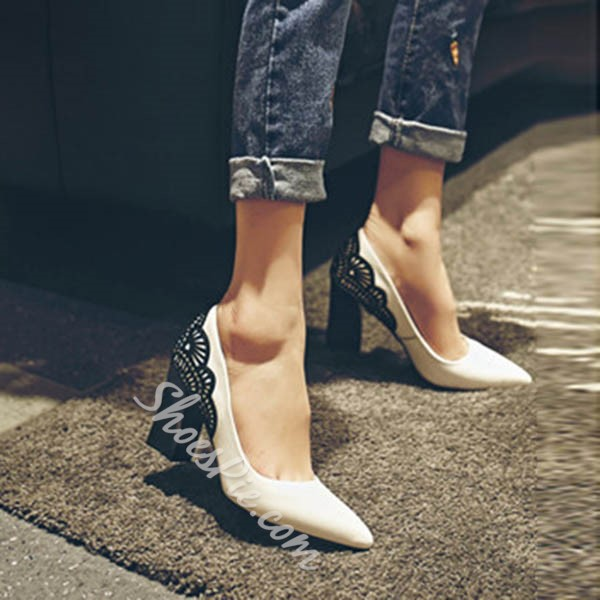 Shoespie Elegant Lace Inset Chunky Heels