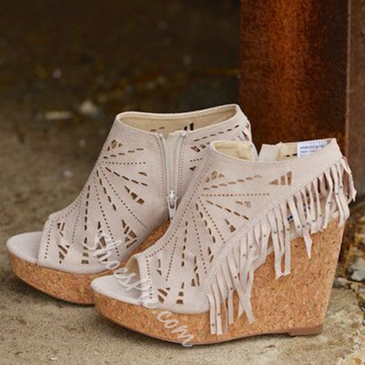 Shoespie Cutout Tassels Peep Toe Wedge Sandals