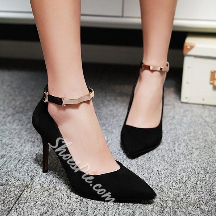 Shoespie Solid Color Metal Ankle Wrap Stiletto Heels