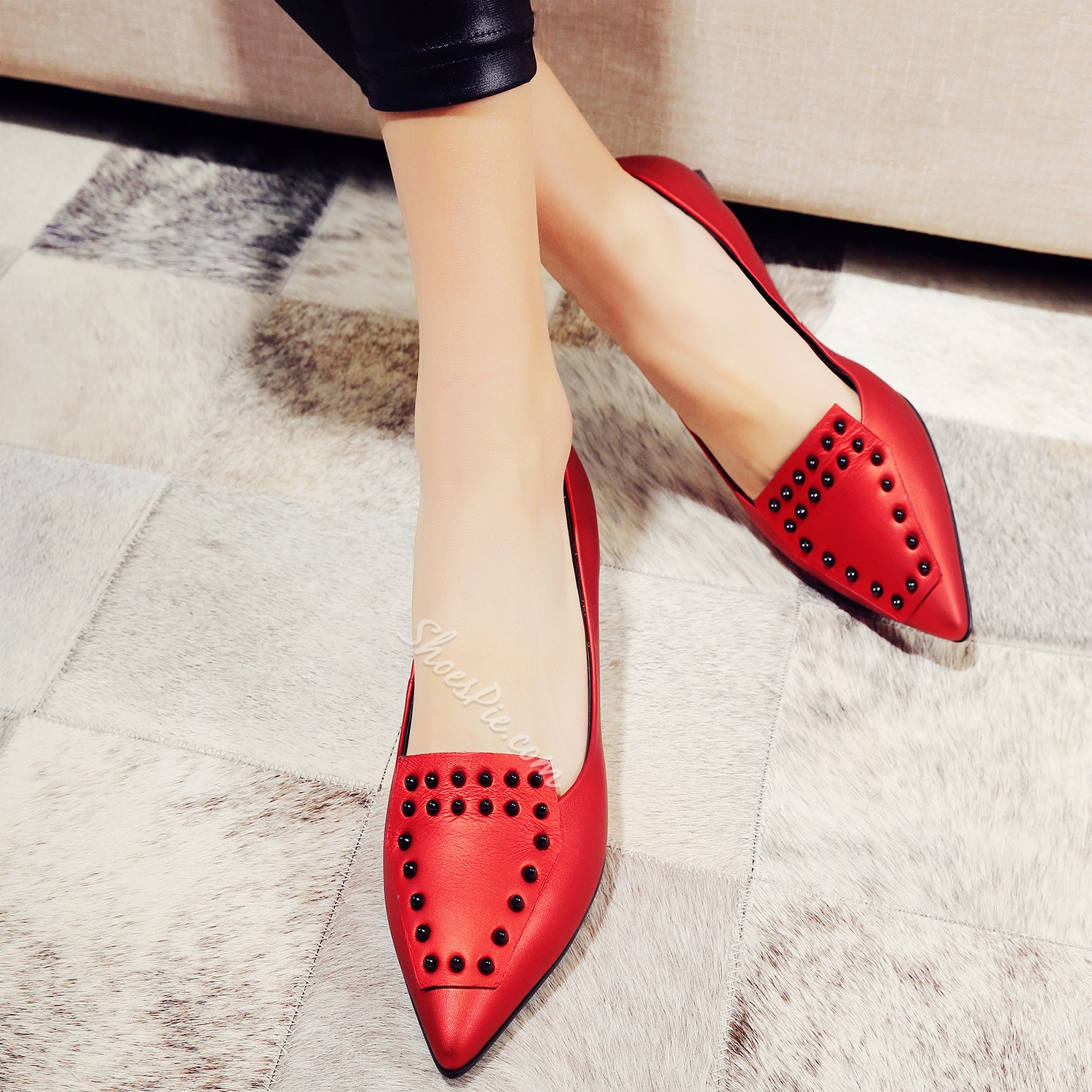 Shoespie Gorgeous Rivets Patchwork Loafers