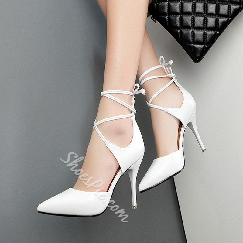 Shoespie Elegant Lace Up Stiletto Heels