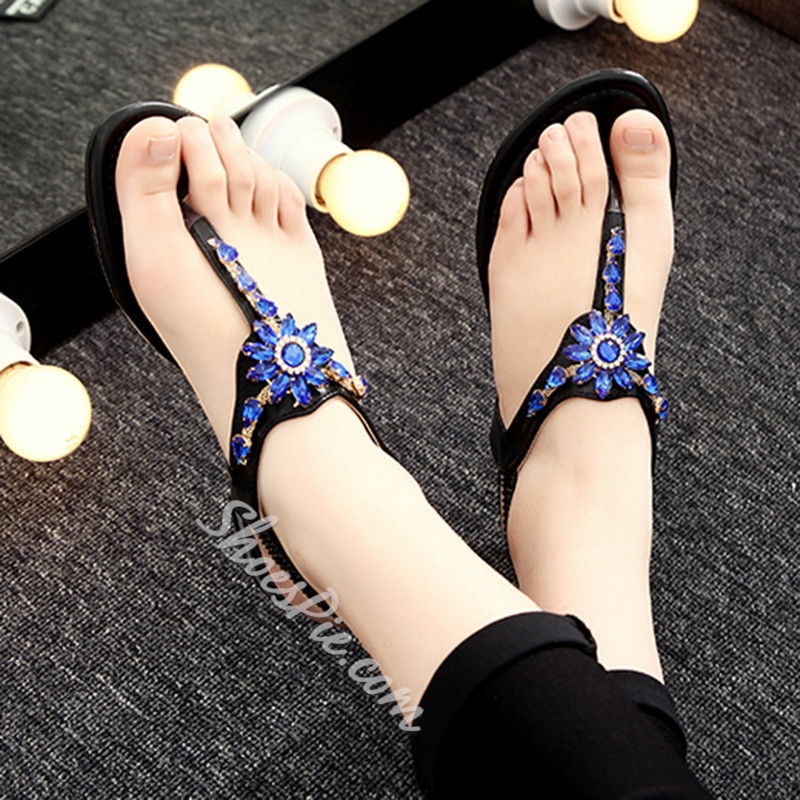 Shoespie Blue Rhinestone Decorated Flat Sandals