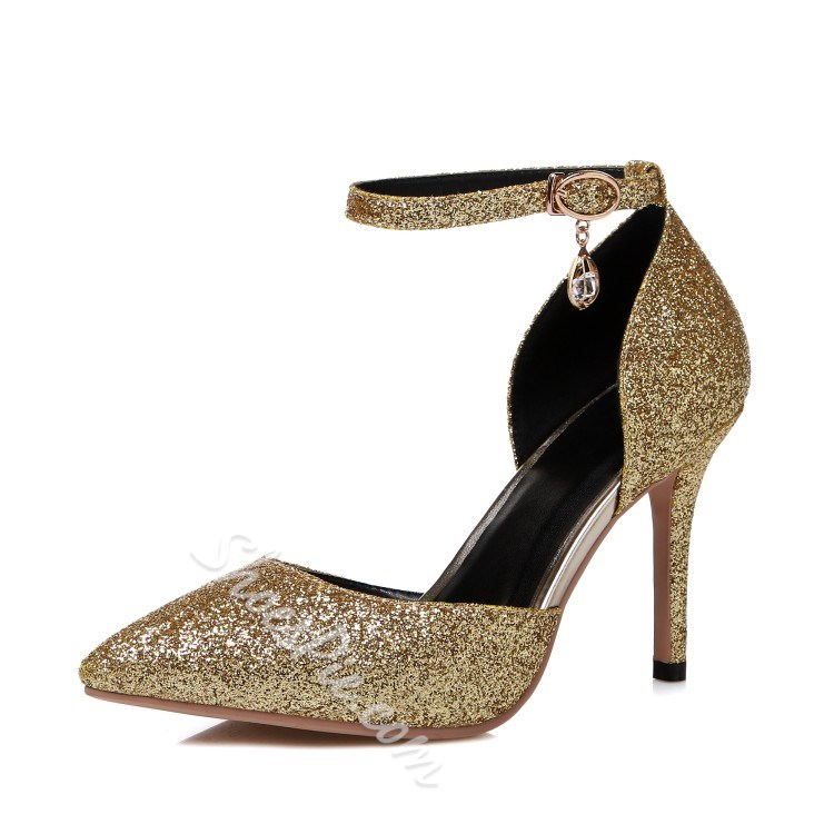 Shoespie Stylish Sequined Ankle Wrap Stiletto Heels