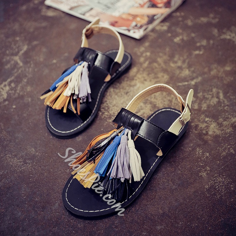 Shoespie Clip Toe Colorful Fringes Flat Sandals