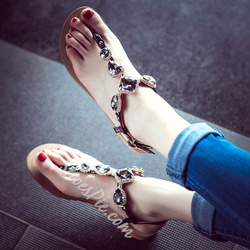 Shoespie Vintage Exquisite Jeweled Flat Sandals