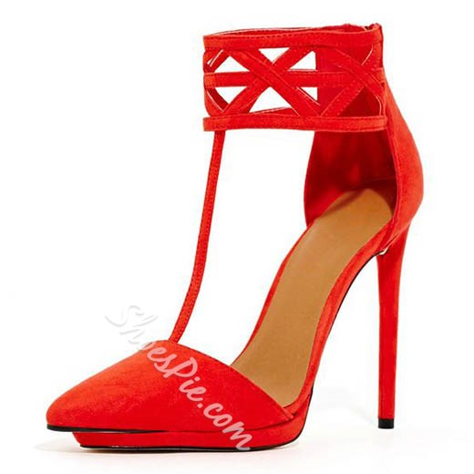 Shoespie Red Pointed Toe T Strap Stiletto Heels