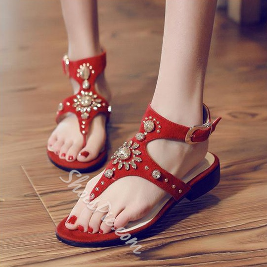 Shoespie Jeweled Thong Flat Sandals