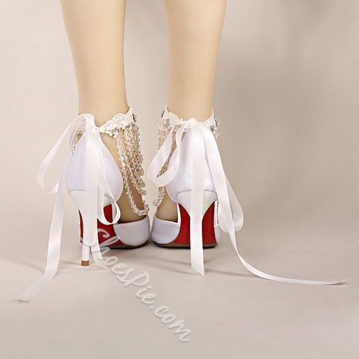 Shoespie Dreaming Beading Ribbon Strapped Wedding Shoes
