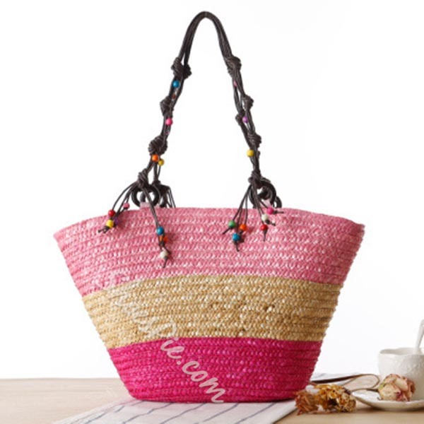 Shoespie Bohemian Starfish Embroidery Straw Handbag