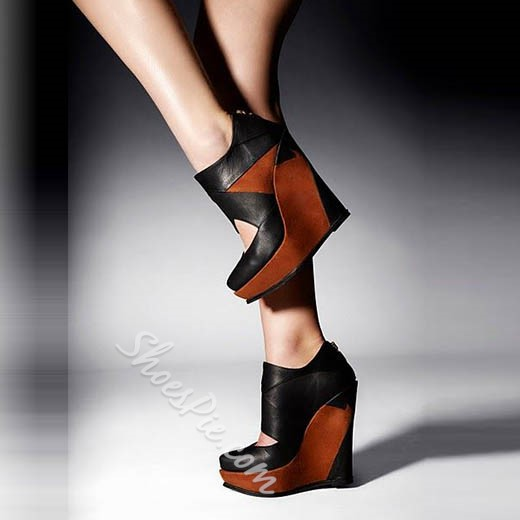 Shoespie Stylish Patchwork Wedge Heels