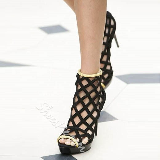 Shoespie Black Caged Peep Toe Stiletto Heel Ankle Boots