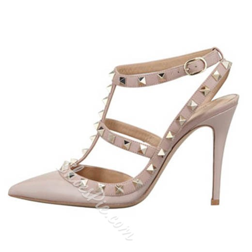 Shoespie Trendy Pointed Toe Rivets Stiletto Heels