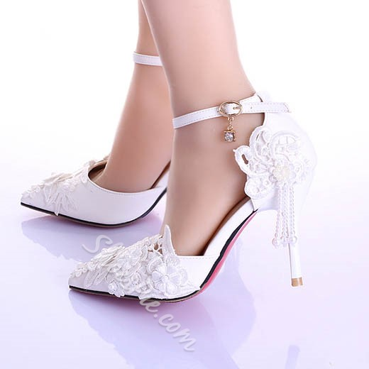 Shoespie Pure White Lace Inset Wedding Shoes