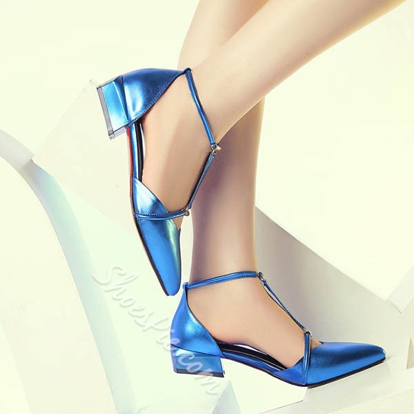 Shoespie Bright Color Pointed Toe T Strap Low Heels