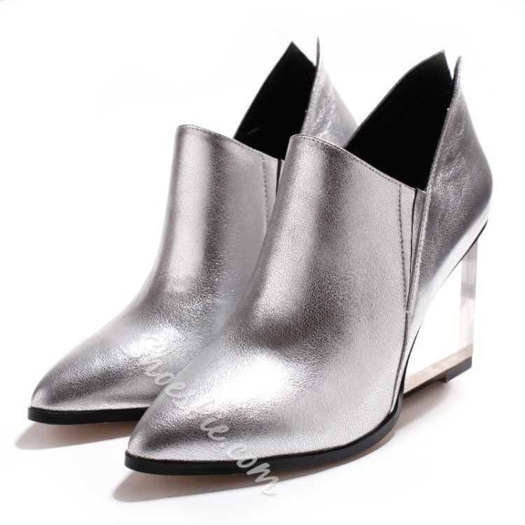 Shoespie Brush Off Crystal Wedge Heel Ankle Boots