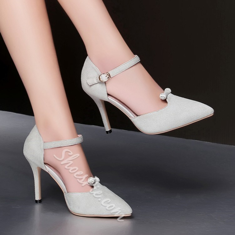 Shoespie Jewelled Pointed Toe Stiletto Heels