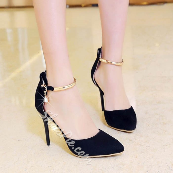 Shoespie Sequined Metal Ankle Wrap Stiletto Heels